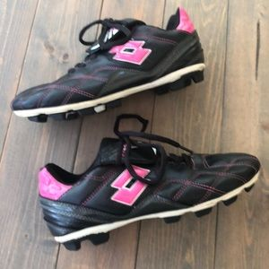 Pink and black Lotto cleats